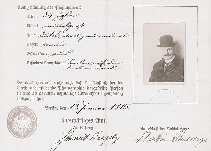 Falscher Pass des Auswärtigen Amts für Martin Ohnesorge alias Max von Oppenheim, 1915